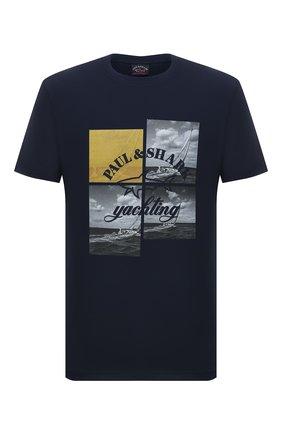Мужская хлопковая футболка PAUL&SHARK темно-синего цвета, арт. 11311623/C00 | Фото 1