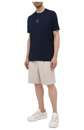 Мужская хлопковая футболка PAUL&SHARK темно-синего цвета, арт. 11311607/C00 | Фото 2