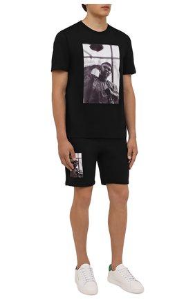 Мужские хлопковые шорты LIMITATO черного цвета, арт. HIT/SH0RT | Фото 2 (Материал внешний: Хлопок; Длина Шорты М: До колена; Кросс-КТ: Трикотаж; Принт: С принтом; Стили: Спорт-шик)