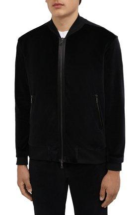 Мужской хлопковый бомбер LIMITATO черного цвета, арт. MARKET/ZIPPED B0MBER H00DIE | Фото 3 (Кросс-КТ: Куртка; Рукава: Длинные; Принт: Без принта; Материал внешний: Хлопок; Стили: Спорт-шик; Длина (верхняя одежда): Короткие; Материал подклада: Хлопок)