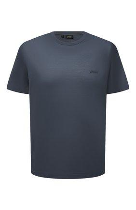 Мужская хлопковая футболка BRIONI синего цвета, арт. UJCA0L/PZ600 | Фото 1 (Материал внешний: Хлопок; Рукава: Короткие; Принт: Без принта; Стили: Кэжуэл; Длина (для топов): Стандартные)