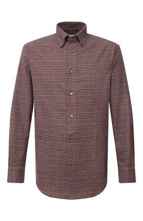 Мужская хлопковая рубашка BRIONI коричневого цвета, арт. SCAY0L/09031   Фото 1