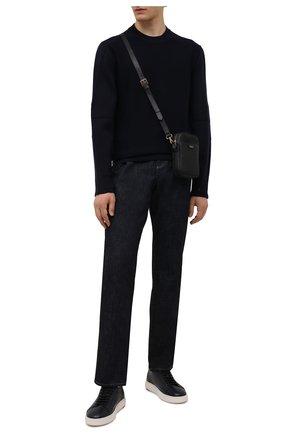 Мужские кожаные кеды SANTONI темно-синего цвета, арт. MBCD21547BARRABEU60 | Фото 2