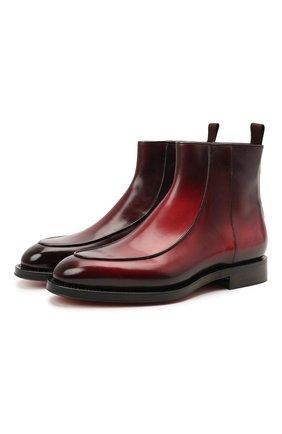 Мужские кожаные сапоги SANTONI бордового цвета, арт. MCCG17671MD3HFULQ67 | Фото 1 (Материал внутренний: Натуральная кожа; Подошва: Плоская; Мужское Кросс-КТ: Сапоги-обувь)