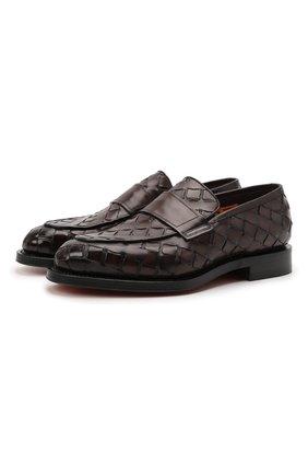 Мужские кожаные лоферы SANTONI темно-коричневого цвета, арт. MCCG17687MD3HVVDT50 | Фото 1