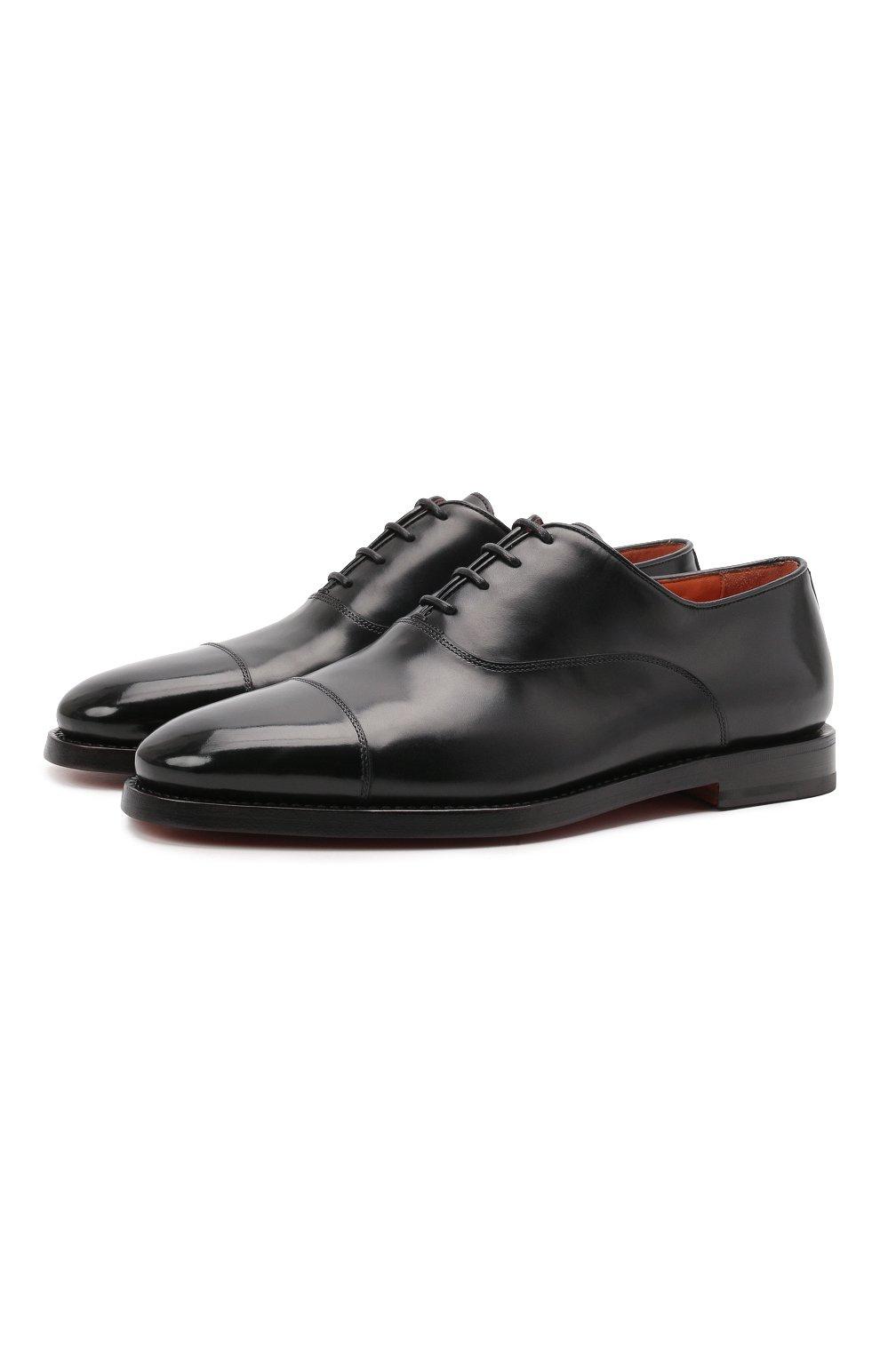 Мужские кожаные оксфорды SANTONI черного цвета, арт. MCCG17756SB3EVRTN01 | Фото 1 (Материал внутренний: Натуральная кожа; Стили: Классический)