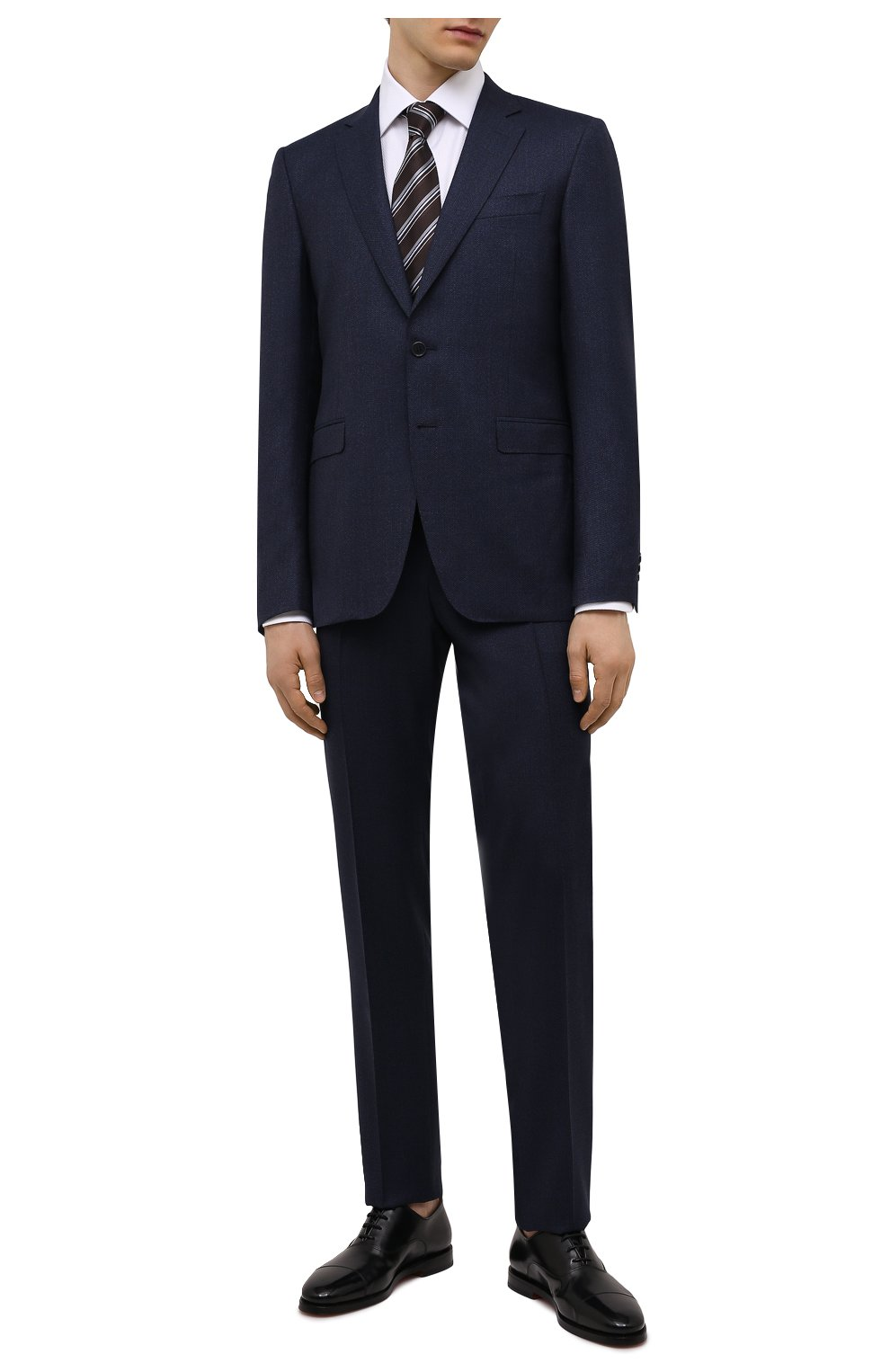 Мужские кожаные оксфорды SANTONI черного цвета, арт. MCCG17756SB3EVRTN01 | Фото 2 (Материал внутренний: Натуральная кожа; Стили: Классический)