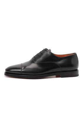 Мужские кожаные оксфорды SANTONI черного цвета, арт. MCCG17756SB3EVRTN01 | Фото 3 (Материал внутренний: Натуральная кожа; Стили: Классический)