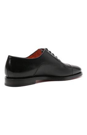 Мужские кожаные оксфорды SANTONI черного цвета, арт. MCCG17756SB3EVRTN01 | Фото 4 (Материал внутренний: Натуральная кожа; Стили: Классический)