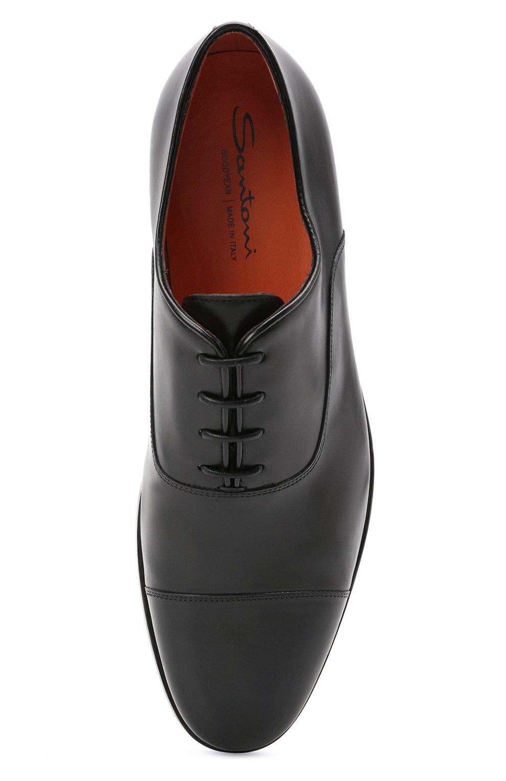 Мужские кожаные оксфорды SANTONI черного цвета, арт. MCCG17756SB3EVRTN01 | Фото 5 (Материал внутренний: Натуральная кожа; Стили: Классический)