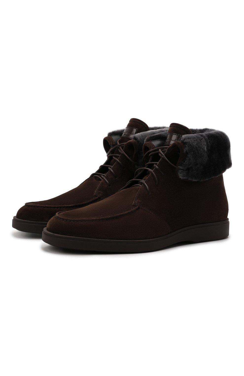 Мужские замшевые ботинки SANTONI темно-коричневого цвета, арт. MGDG17891DATASVUT50   Фото 1 (Материал утеплителя: Натуральный мех; Мужское Кросс-КТ: Ботинки-обувь, зимние ботинки; Подошва: Плоская; Материал внешний: Замша)