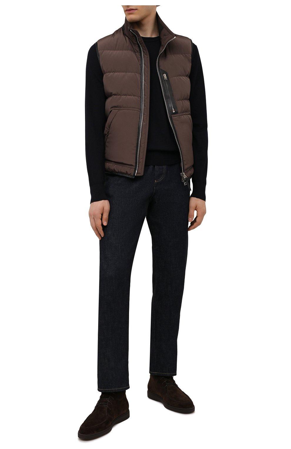 Мужские замшевые ботинки SANTONI темно-коричневого цвета, арт. MGDG17891DATASVUT50   Фото 2 (Материал утеплителя: Натуральный мех; Мужское Кросс-КТ: Ботинки-обувь, зимние ботинки; Подошва: Плоская; Материал внешний: Замша)