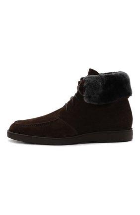 Мужские замшевые ботинки SANTONI темно-коричневого цвета, арт. MGDG17891DATASVUT50   Фото 3 (Материал утеплителя: Натуральный мех; Мужское Кросс-КТ: Ботинки-обувь, зимние ботинки; Подошва: Плоская; Материал внешний: Замша)