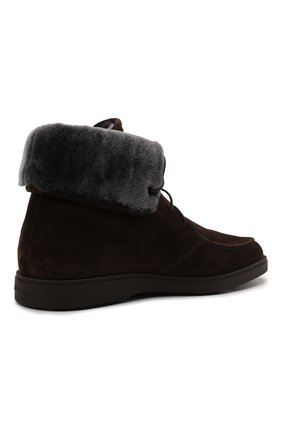 Мужские замшевые ботинки SANTONI темно-коричневого цвета, арт. MGDG17891DATASVUT50   Фото 4 (Материал утеплителя: Натуральный мех; Мужское Кросс-КТ: Ботинки-обувь, зимние ботинки; Подошва: Плоская; Материал внешний: Замша)