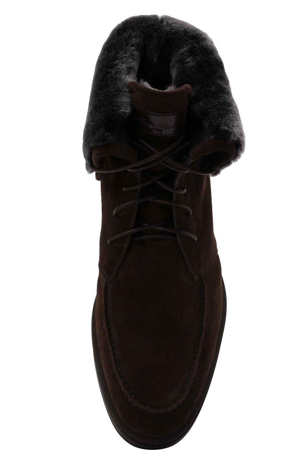 Мужские замшевые ботинки SANTONI темно-коричневого цвета, арт. MGDG17891DATASVUT50   Фото 5 (Материал утеплителя: Натуральный мех; Мужское Кросс-КТ: Ботинки-обувь, зимние ботинки; Подошва: Плоская; Материал внешний: Замша)