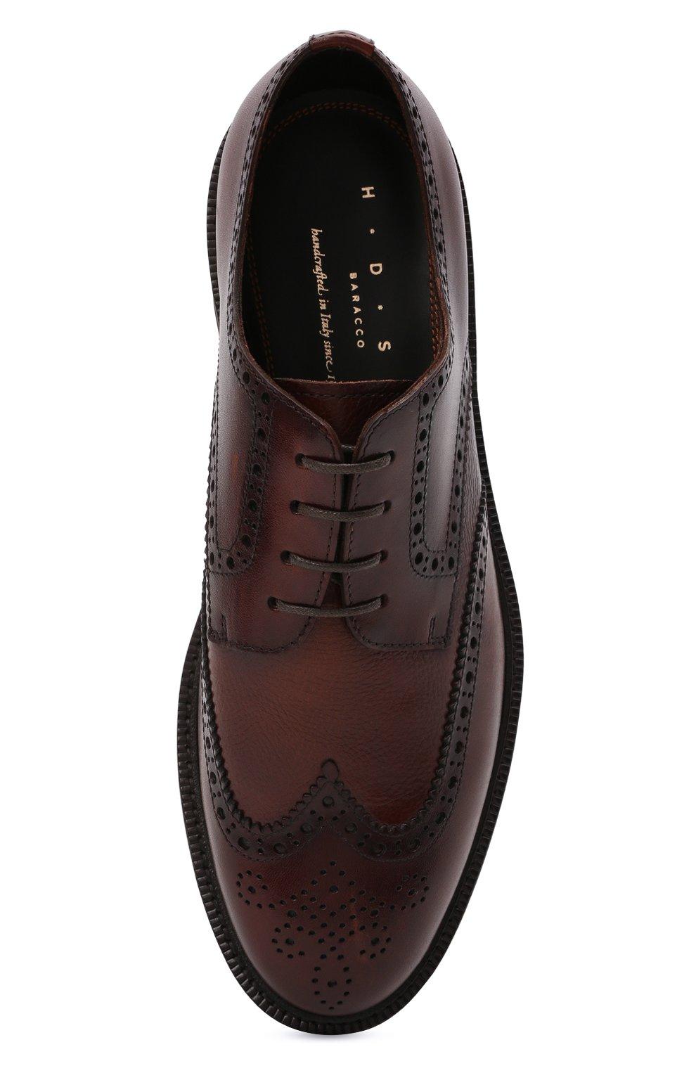 Мужские кожаные дерби H`D`S`N BARACCO коричневого цвета, арт. 81216.B.2*   Фото 5 (Мужское Кросс-КТ: Броги-обувь; Материал внутренний: Натуральная кожа; Стили: Классический)