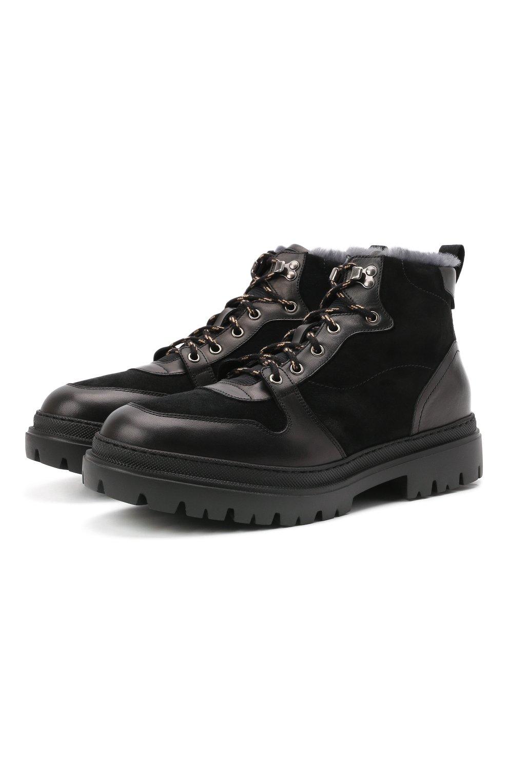 Мужские комбинированные ботинки H`D`S`N BARACCO черного цвета, арт. 81530.VMN.0* | Фото 1 (Материал утеплителя: Натуральный мех; Мужское Кросс-КТ: Хайкеры-обувь, Ботинки-обувь, зимние ботинки; Подошва: Массивная)