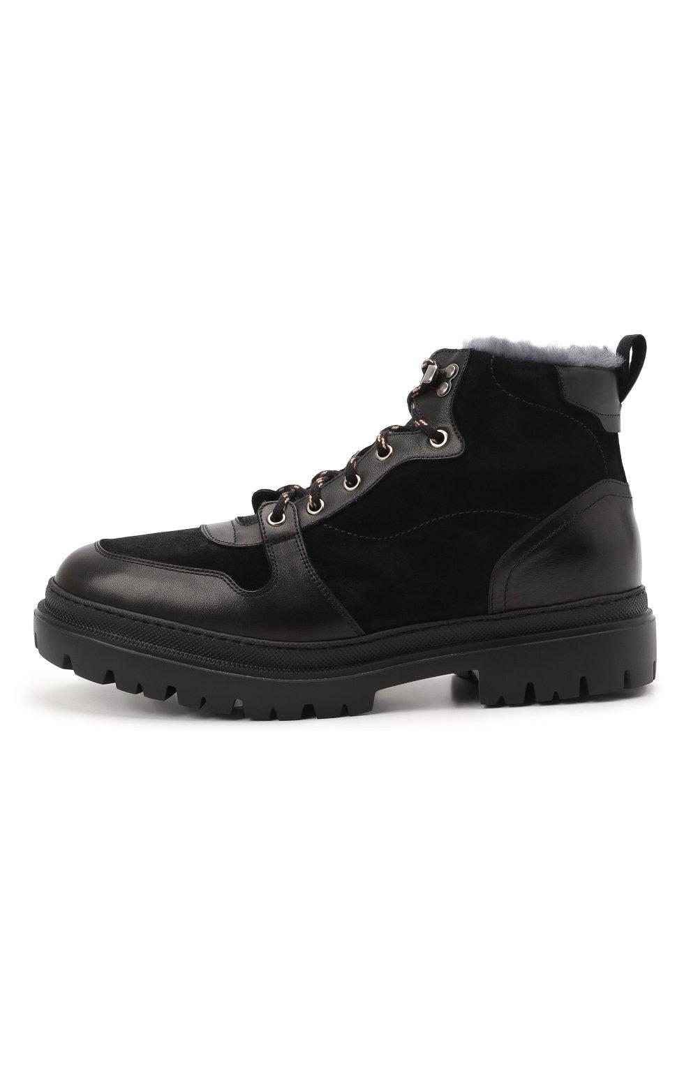 Мужские комбинированные ботинки H`D`S`N BARACCO черного цвета, арт. 81530.VMN.0* | Фото 3 (Материал утеплителя: Натуральный мех; Мужское Кросс-КТ: Хайкеры-обувь, Ботинки-обувь, зимние ботинки; Подошва: Массивная)