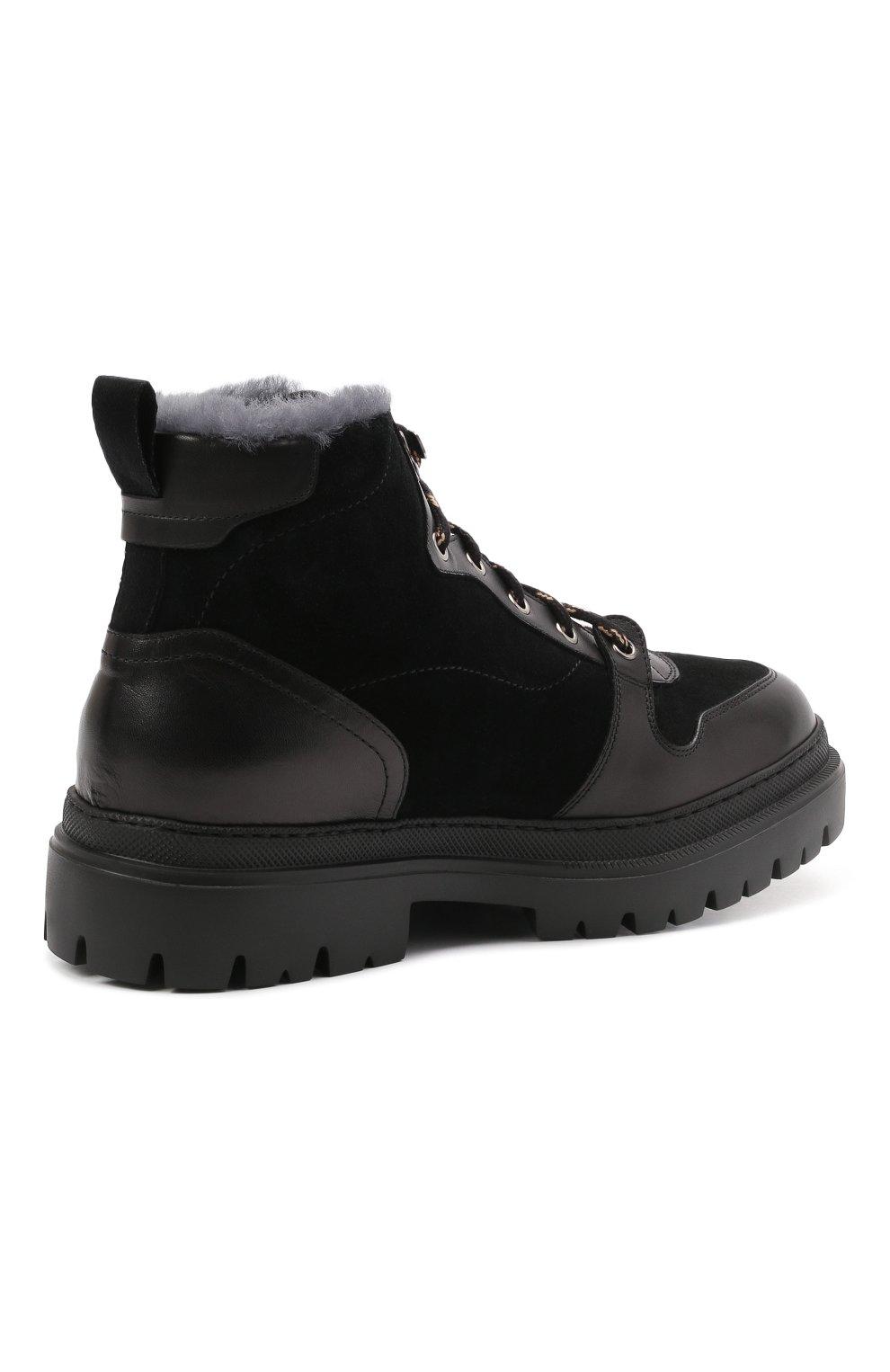Мужские комбинированные ботинки H`D`S`N BARACCO черного цвета, арт. 81530.VMN.0* | Фото 4 (Материал утеплителя: Натуральный мех; Мужское Кросс-КТ: Хайкеры-обувь, Ботинки-обувь, зимние ботинки; Подошва: Массивная)