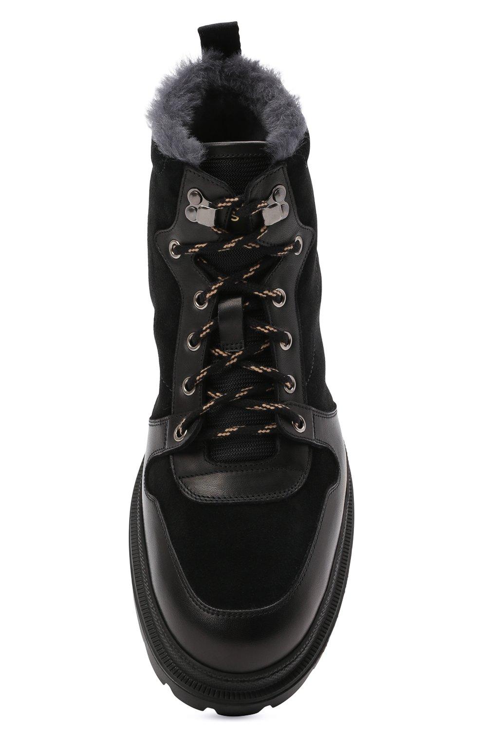 Мужские комбинированные ботинки H`D`S`N BARACCO черного цвета, арт. 81530.VMN.0* | Фото 5 (Материал утеплителя: Натуральный мех; Мужское Кросс-КТ: Хайкеры-обувь, Ботинки-обувь, зимние ботинки; Подошва: Массивная)