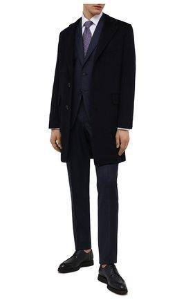 Мужские кожаные дерби BRIONI темно-синего цвета, арт. QE2A0L/P7731 | Фото 2 (Материал внутренний: Натуральная кожа; Стили: Классический)