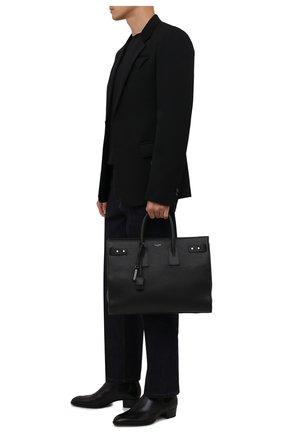 Мужская кожаная сумка-тоут sac de jour SAINT LAURENT черного цвета, арт. 631526/DTI0E | Фото 2