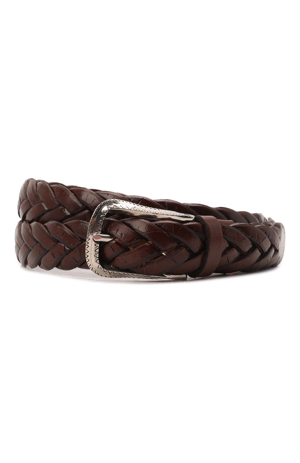 Мужской кожаный ремень BRUNELLO CUCINELLI коричневого цвета, арт. MAUCJ262 | Фото 1 (Случай: Повседневный)
