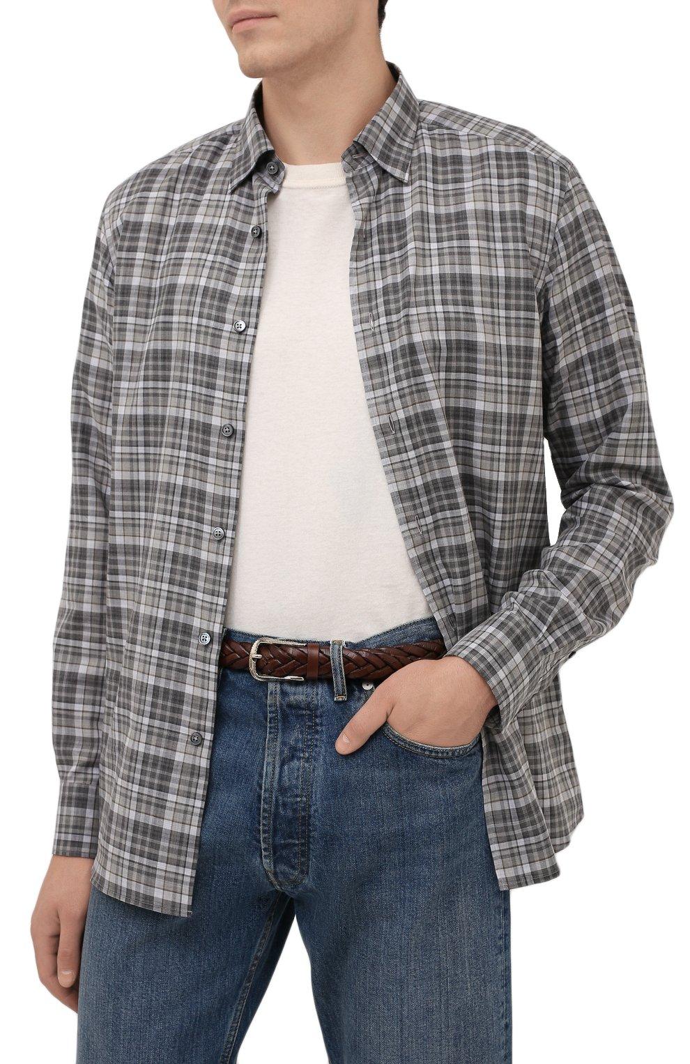 Мужской кожаный ремень BRUNELLO CUCINELLI коричневого цвета, арт. MAUCJ262 | Фото 2 (Случай: Повседневный)