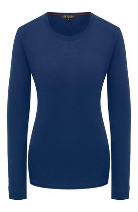 Женский пуловер из кашемира и шелка LORO PIANA синего цвета, арт. FAL7545   Фото 1