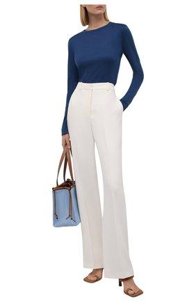 Женский пуловер из кашемира и шелка LORO PIANA синего цвета, арт. FAL7545   Фото 2