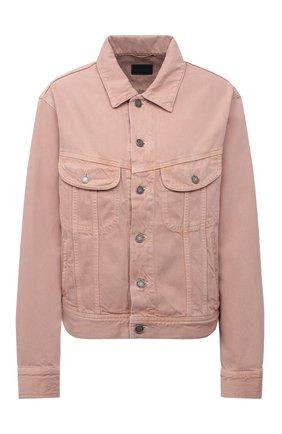 Женская джинсовая куртка SAINT LAURENT светло-розового цвета, арт. 640337/Y23NM   Фото 1 (Длина (верхняя одежда): Короткие; Материал внешний: Хлопок; Рукава: Длинные; Стили: Гламурный; Кросс-КТ: Деним, Куртка)