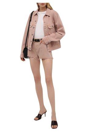 Женская джинсовая куртка SAINT LAURENT светло-розового цвета, арт. 640337/Y23NM   Фото 2 (Длина (верхняя одежда): Короткие; Материал внешний: Хлопок; Рукава: Длинные; Стили: Гламурный; Кросс-КТ: Деним, Куртка)
