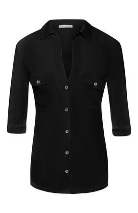 Женская хлопковая рубашка JAMES PERSE темно-синего цвета, арт. WUA3042 | Фото 1