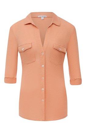 Женская хлопковая рубашка JAMES PERSE персикового цвета, арт. WUA3042 | Фото 1