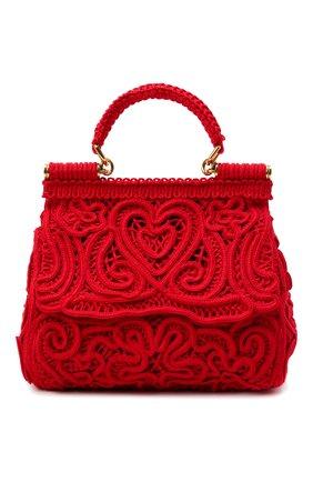 Женская сумка sicily small DOLCE & GABBANA красного цвета, арт. BB6003/AW717   Фото 1