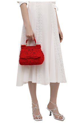 Женская сумка sicily small DOLCE & GABBANA красного цвета, арт. BB6003/AW717   Фото 2