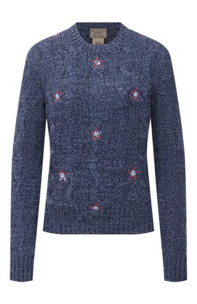 Женский хлопковый свитер POLO RALPH LAUREN синего цвета, арт. 211845944 | Фото 1