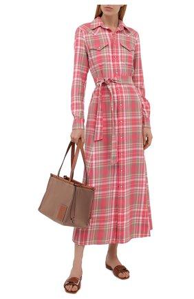 Женское хлопковое платье POLO RALPH LAUREN розового цвета, арт. 211843096 | Фото 2 (Рукава: Длинные; Длина Ж (юбки, платья, шорты): Миди; Материал внешний: Хлопок; Стили: Кэжуэл; Принт: Клетка; Случай: Повседневный; Женское Кросс-КТ: Платье-одежда)