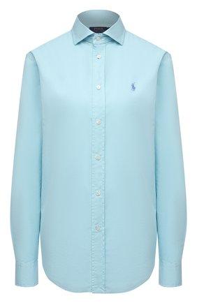 Женская хлопковая рубашка POLO RALPH LAUREN бирюзового цвета, арт. 211841951 | Фото 1
