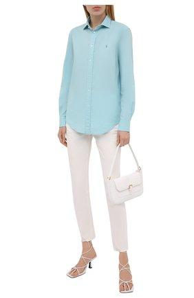 Женская хлопковая рубашка POLO RALPH LAUREN бирюзового цвета, арт. 211841951 | Фото 2