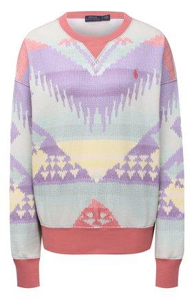 Женский хлопковый свитер POLO RALPH LAUREN разноцветного цвета, арт. 211841837 | Фото 1 (Материал внешний: Хлопок; Длина (для топов): Стандартные; Рукава: Длинные; Стили: Спорт-шик; Женское Кросс-КТ: Свитер-одежда)