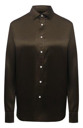 Женская шелковая рубашка POLO RALPH LAUREN болотного цвета, арт. 211798122 | Фото 1 (Материал внешний: Шелк; Стили: Гламурный; Принт: Без принта; Женское Кросс-КТ: Рубашка-одежда; Длина (для топов): Стандартные; Рукава: Длинные)