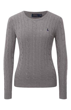 Женский шерстяной пуловер POLO RALPH LAUREN серого цвета, арт. 211525764 | Фото 1