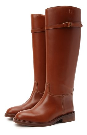 Женские кожаные сапоги POLO RALPH LAUREN коричневого цвета, арт. 818811250 | Фото 1