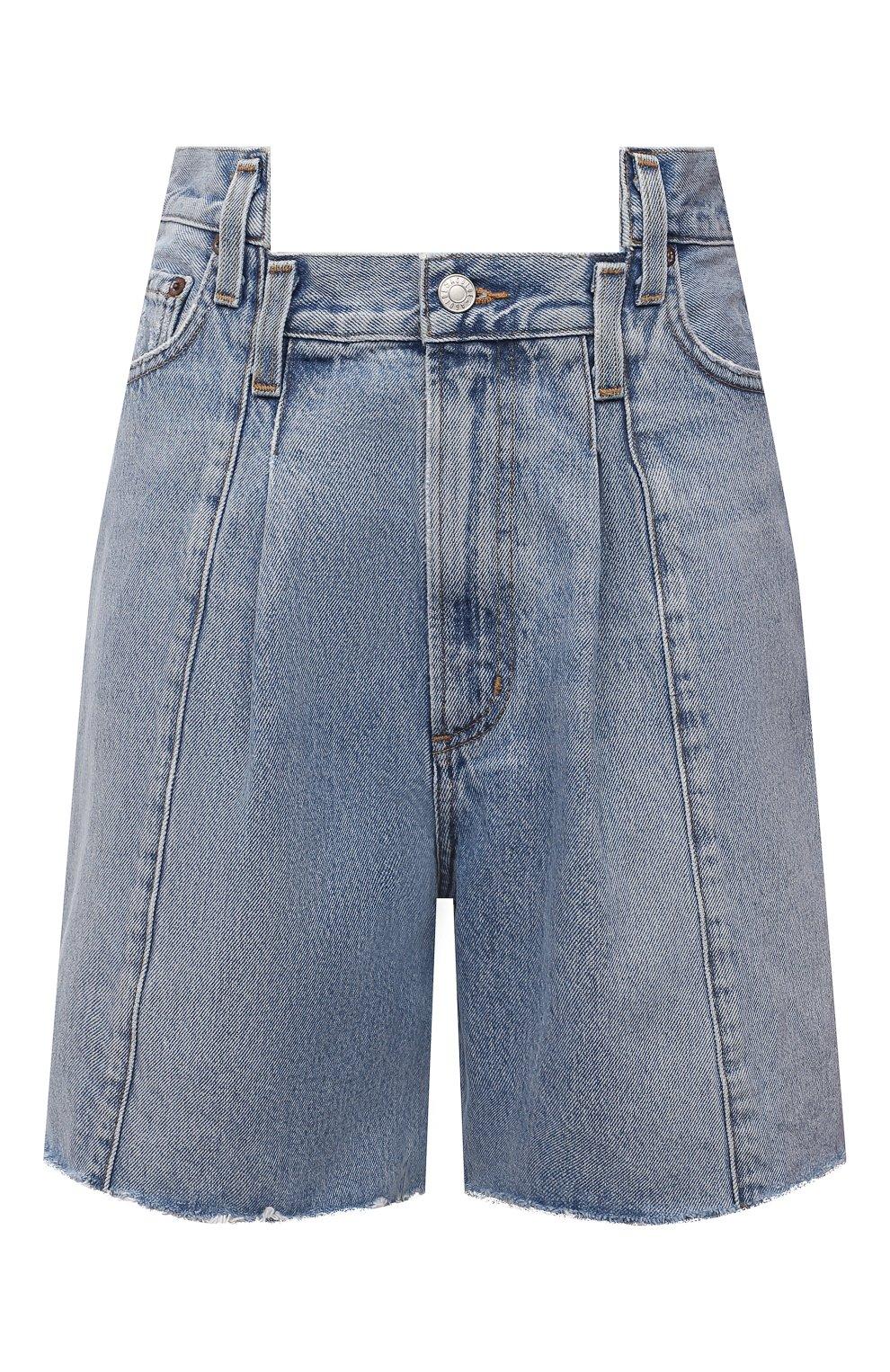 Женские джинсовые шорты AGOLDE голубого цвета, арт. A9017-1206   Фото 1 (Женское Кросс-КТ: Шорты-одежда; Стили: Гламурный; Кросс-КТ: Деним; Длина Ж (юбки, платья, шорты): Мини; Материал внешний: Хлопок)