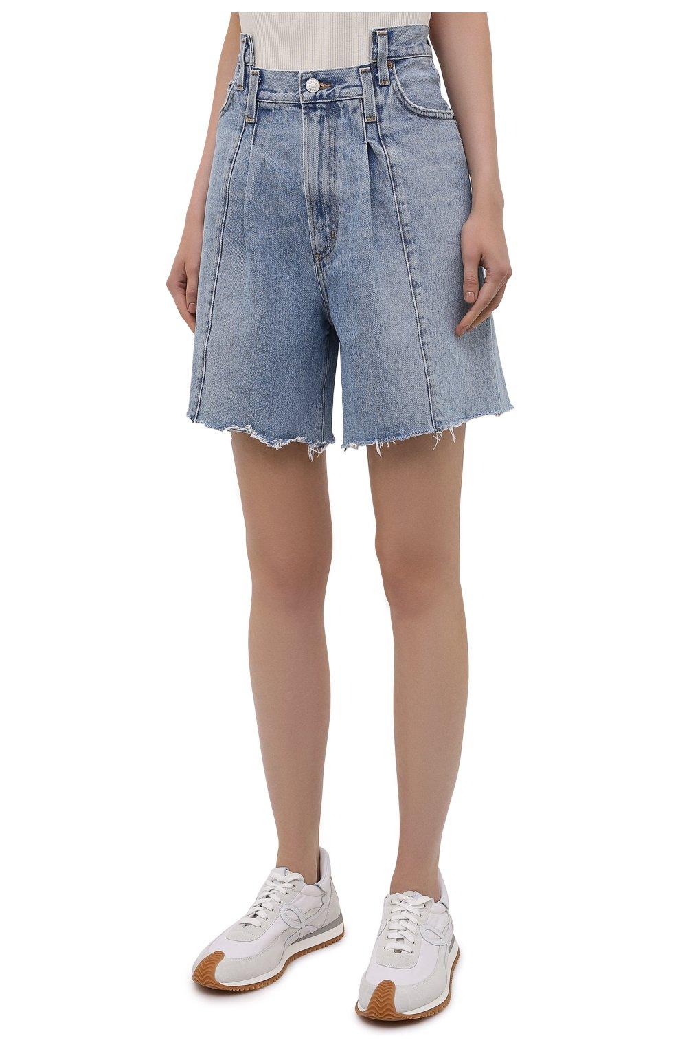 Женские джинсовые шорты AGOLDE голубого цвета, арт. A9017-1206   Фото 3 (Женское Кросс-КТ: Шорты-одежда; Стили: Гламурный; Кросс-КТ: Деним; Длина Ж (юбки, платья, шорты): Мини; Материал внешний: Хлопок)