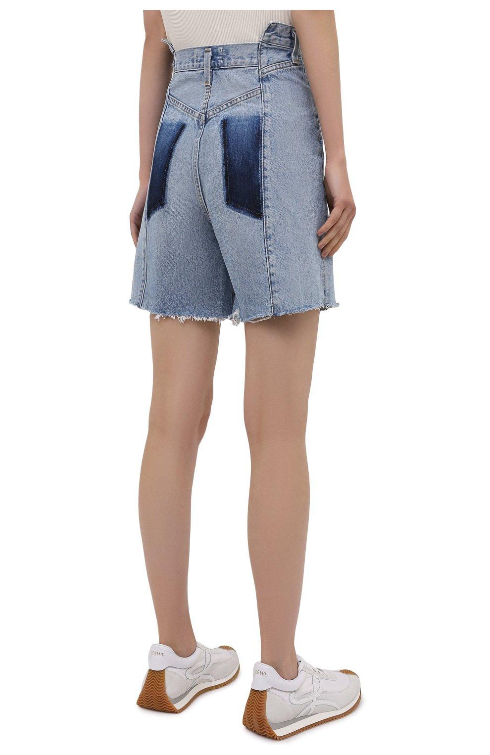 Женские джинсовые шорты AGOLDE голубого цвета, арт. A9017-1206   Фото 4 (Женское Кросс-КТ: Шорты-одежда; Стили: Гламурный; Кросс-КТ: Деним; Длина Ж (юбки, платья, шорты): Мини; Материал внешний: Хлопок)