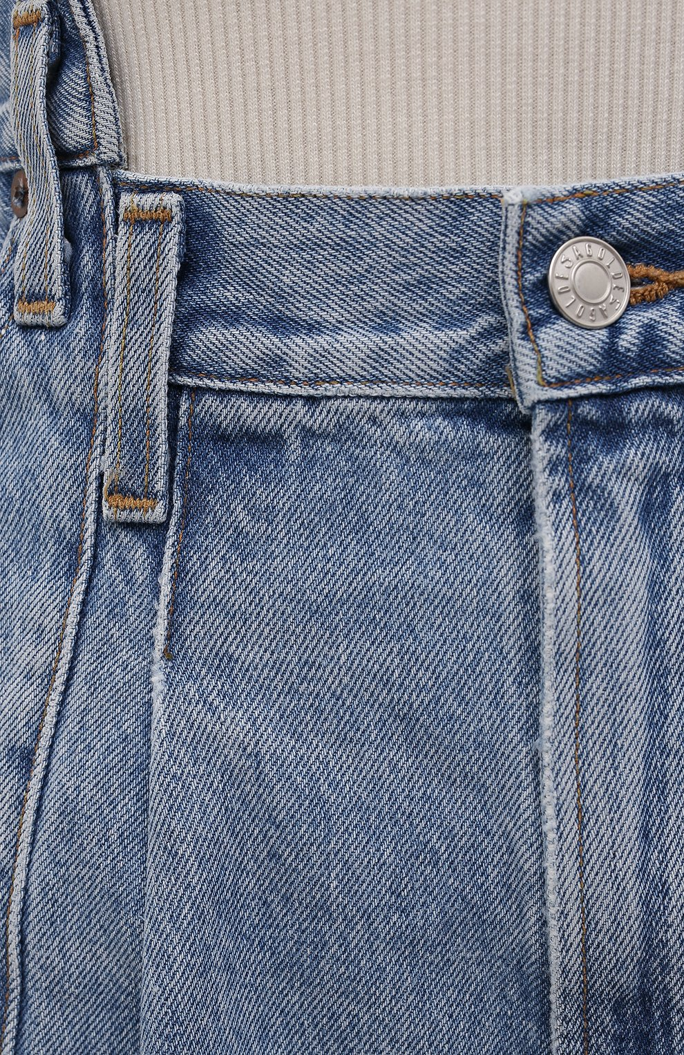 Женские джинсовые шорты AGOLDE голубого цвета, арт. A9017-1206   Фото 5 (Женское Кросс-КТ: Шорты-одежда; Стили: Гламурный; Кросс-КТ: Деним; Длина Ж (юбки, платья, шорты): Мини; Материал внешний: Хлопок)