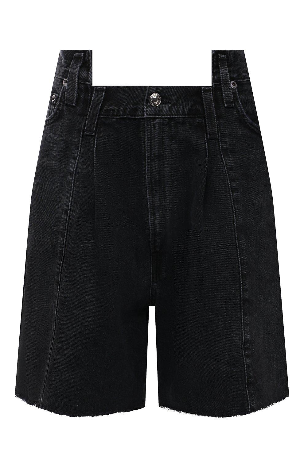 Женские джинсовые шорты AGOLDE темно-серого цвета, арт. A9017-1157   Фото 1 (Женское Кросс-КТ: Шорты-одежда; Стили: Гламурный; Кросс-КТ: Деним; Длина Ж (юбки, платья, шорты): Мини; Материал внешний: Хлопок)
