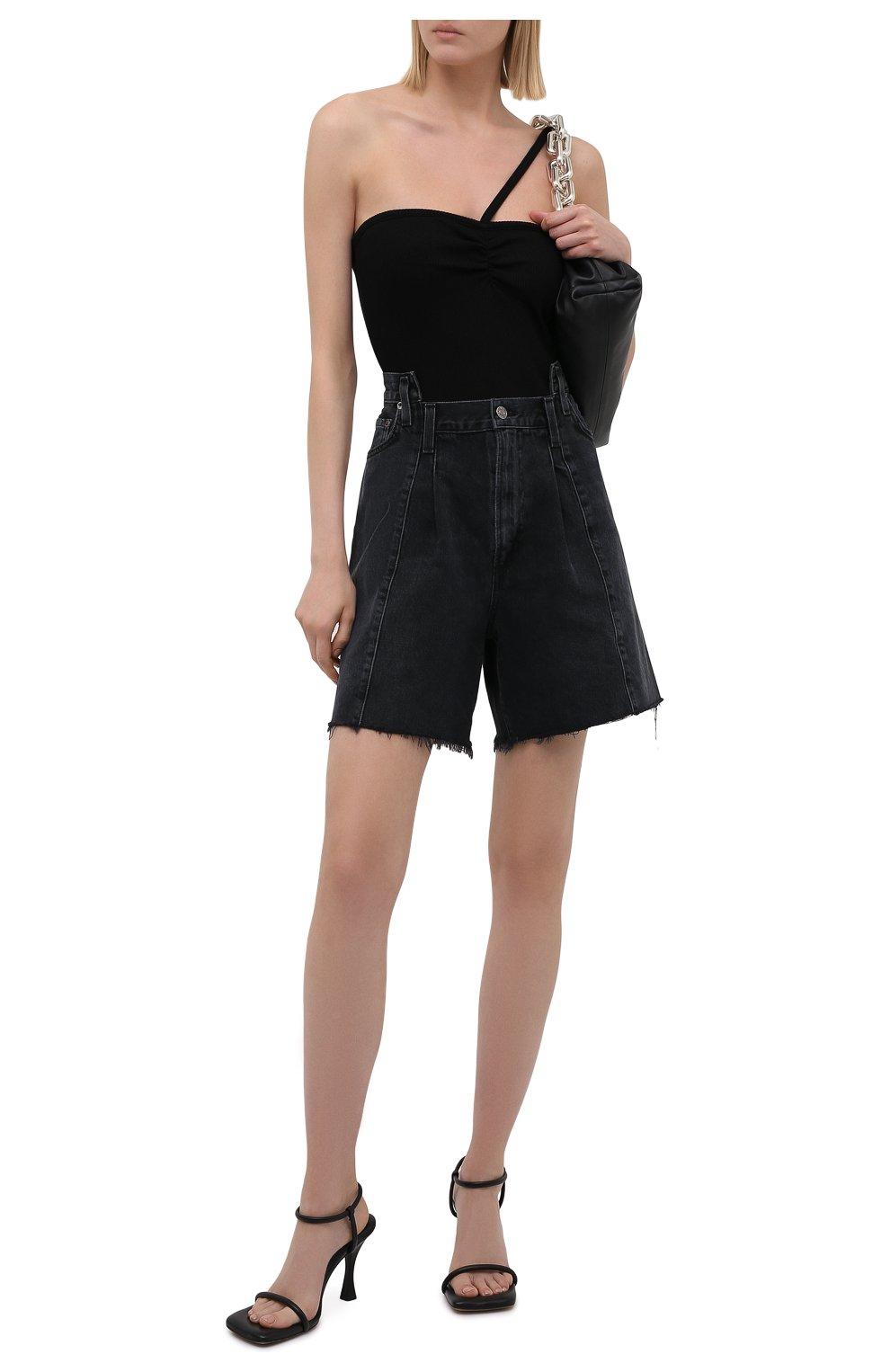 Женские джинсовые шорты AGOLDE темно-серого цвета, арт. A9017-1157   Фото 2 (Женское Кросс-КТ: Шорты-одежда; Стили: Гламурный; Кросс-КТ: Деним; Длина Ж (юбки, платья, шорты): Мини; Материал внешний: Хлопок)